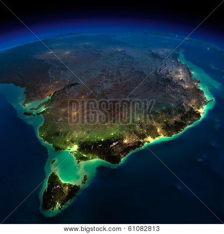 Night Earth. Part Of Australia. Tasmania
