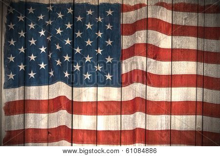 American flag painted on wood wall background