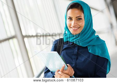 happy female middle eastern university student