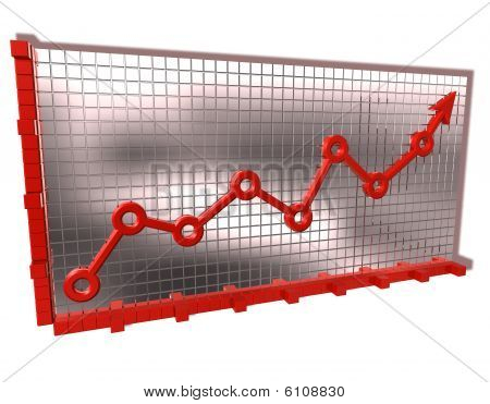Graph silver red arrow