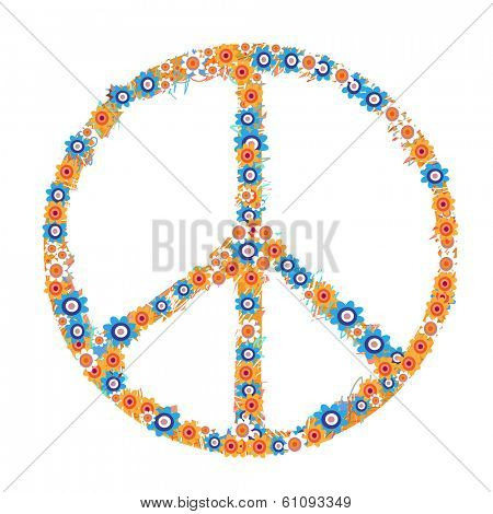 Peace symbol made from flowers on white background.