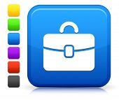 Briefcase Icon on Square Internet Button Collection poster