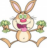 Rich Brown Rabbit Cartoon Character Jumping With Cash.  Illustration Isolated on white poster