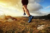 Outdoor cross-country running in early sunrise concept for exercising, fitness and healthy lifestyle poster
