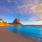 Calpe Alicante sunset at beach Cantal Roig in Mediterranean Spain poster