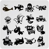 set of 16 funny vector contour animals icons poster