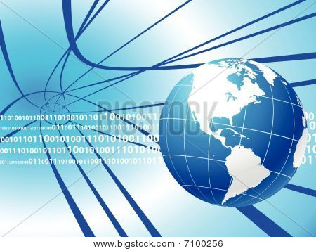 Globe On Internet Background