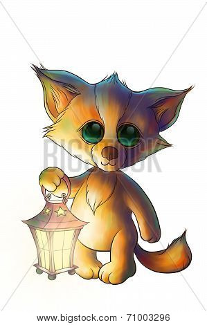 cute little fox with lantern in the forest poster