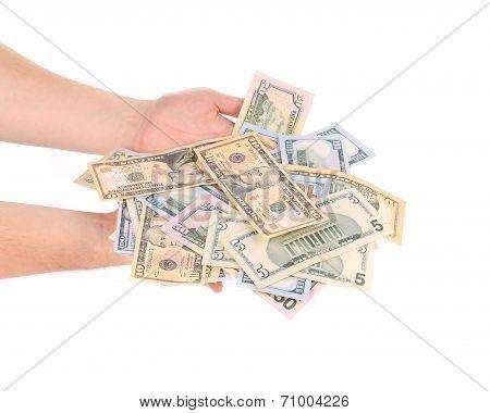 Male hand holding american dollar-bills.