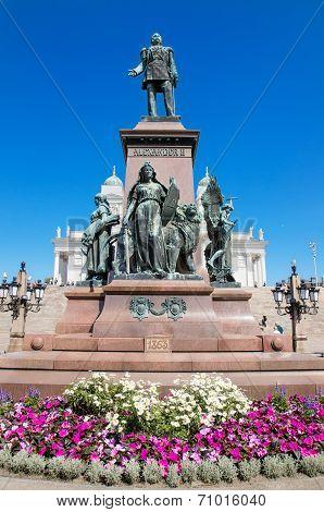 Statue of zar Alexander II on June 22 2013 in Helsinki Finland.