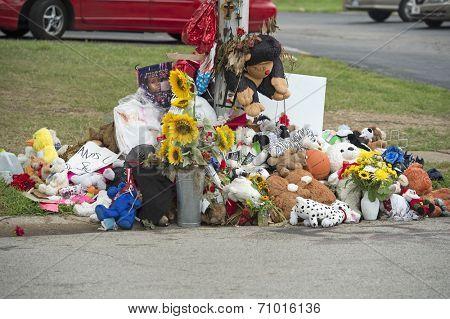 FERGUSON, MO/USA - AUGUST 30, 2014: A makeshift memorial near where black teenager Michael Brown was shot to death by police in Ferguson, Missouri.