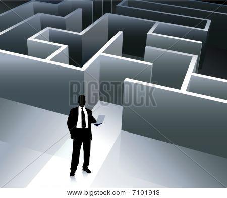 Businessman Internet Background With Maze