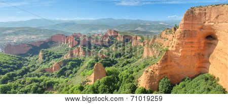 Wonderful panorama landscape of Las Medulas ancient roman mines in Leon Spain.