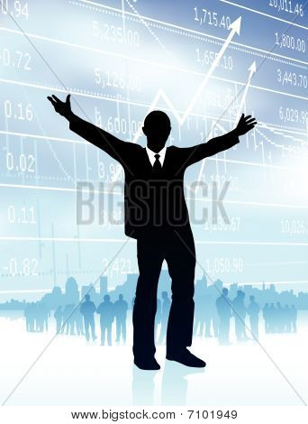 Excited Businessman With Skyline And Graph On Internet Backgroun