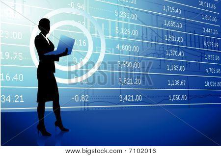 Businesswoman Holding Laptop On Stock Market Background