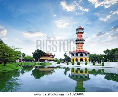 Bang Pa In ancient palace, former royal summer residence of Thai King near Ayutthaya and Bangkok, Thailand