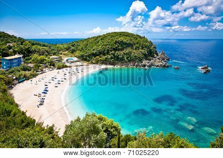 Beautiful Sarakiniko beach. Just 8km outside the village Parga after Agia village of Syvota area in Greece.