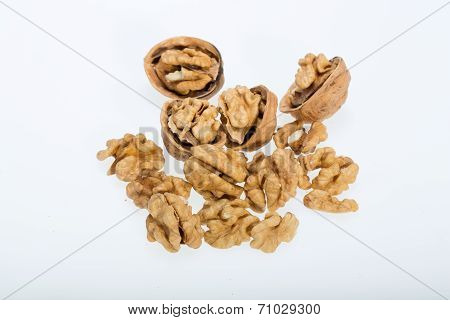 cracked walnut isolated on the white background poster
