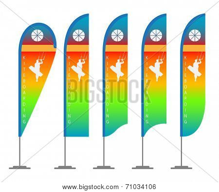 Illustration set of beach flags. Vector.