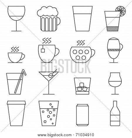 Set Of Line Icons With Drinks