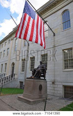 John Harvard statue in Harvard University, Cambridge, USA poster