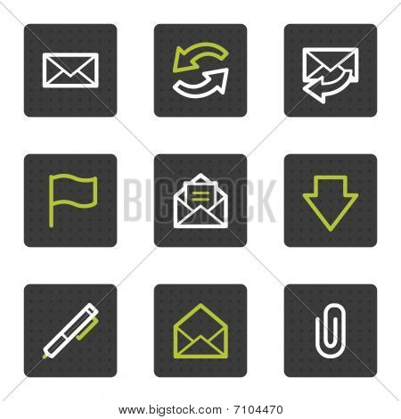 E-mail web icons, grey square buttons series