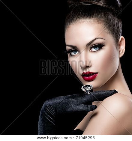 Beauty Fashion Glamour Girl Portrait over black background. Vintage Style Girl Wearing Gloves. Jewellery. Jewelry. Glamor Hairstyle and Make-up. Sexy Red Lips. Diamond Ring. Retro Woman Portrait  poster