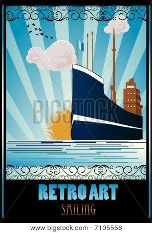 retro ship vector illustration