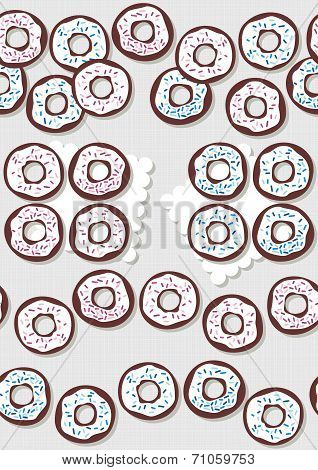 Sweet donuts with icing and pink and blue sugar sprinkles messy food dessert seamless border set on light gray background poster