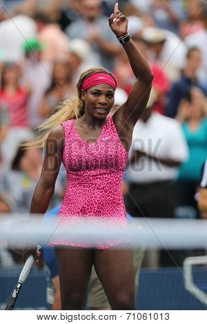 Grand Slam champion Serena Williams celebrates victory after  third round match at US Open 2014