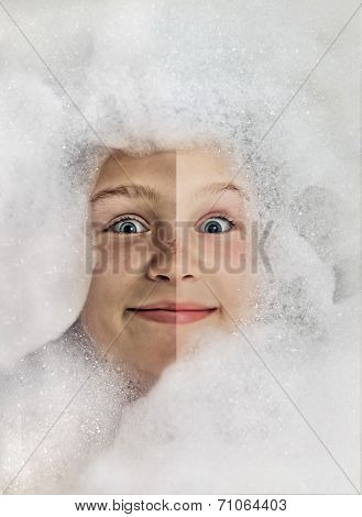 Happy Baby In The Bath, Swimming In The Foam