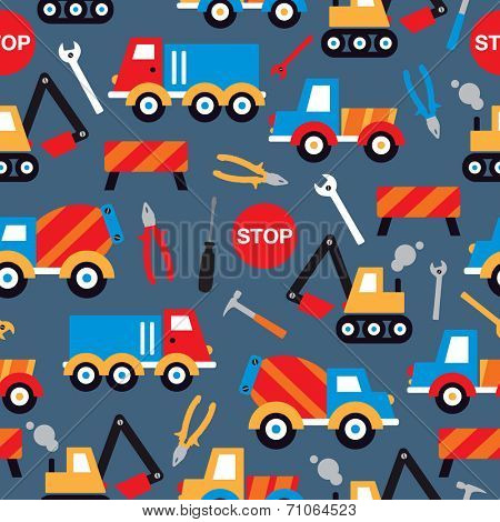 Seamless under construction crane trucks digger and tools illustration kids background pattern in vector