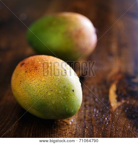 two mangoes shot with selective focus