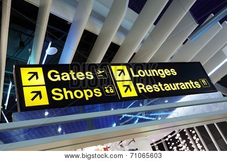 Airport flight gate, shop, restaurant and lounge direction information sign poster