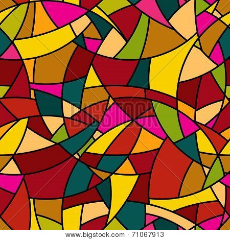 Vector Seamless Pattern - Abstract Mosaic Stained-glass Window Style Simple Texture
