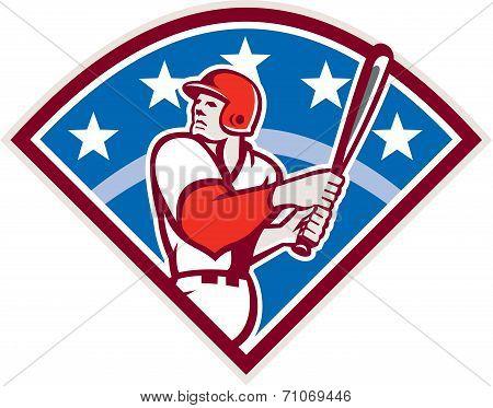 American Baseball Batter Hitter Bat Diamond Retro