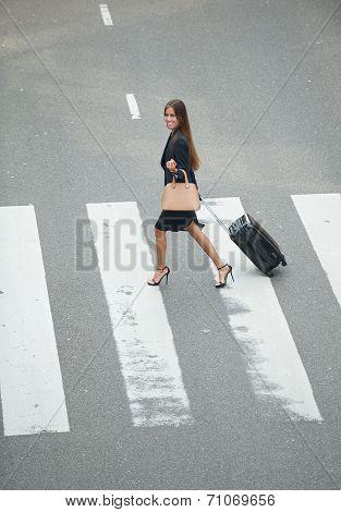 Business Woman Crossing At Zebra Crossway