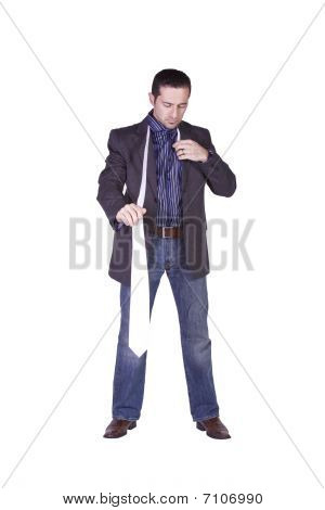 Casual Man Taking Off His Tie