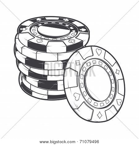Stacks Of Gambling Chips, Casino Tokens Isolated On A White Background. Line Art. Retro Design. Vect