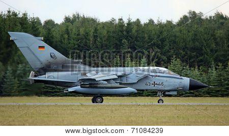 TORNADO fighter jet after flight demonstration