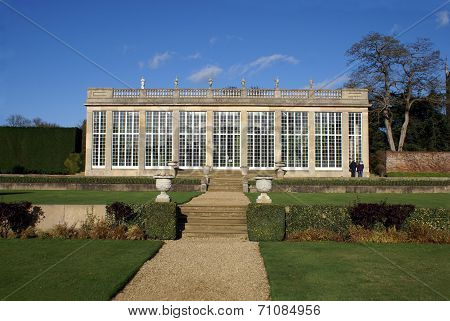 old orangery with statues & balustrade