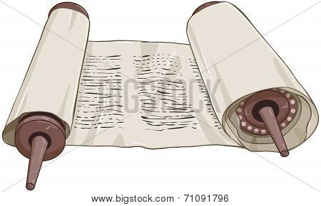 Traditional Jewish Torah Scroll With Text