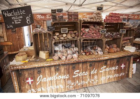 Ham And Sausages On A Market In Bourg St Maurice