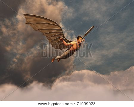 Winged man flying