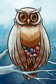 owl save nestlings from cold on the tree poster