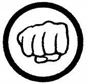 A clenched fist enclosed in a black circle over a white background poster