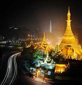 Yangon Myanmar, night cityscape panorama with Sule pagoda poster