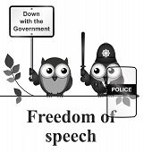 Monochrome comical freedom of speech isolated on white background poster
