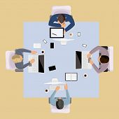 Business team meeting brainstorming concept top view group people on table vector illustration poster