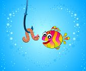 little cartoon funny fish eats a worm  under water poster